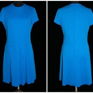 VTG 60's Bright Blue Scooter Dress Size Medium